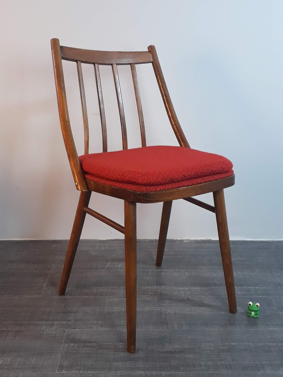 Czech Mid Century Wood Red Fabric Dining Chairs From Ton Bystryce For Cesky Nabytek 1960s Set Of 4