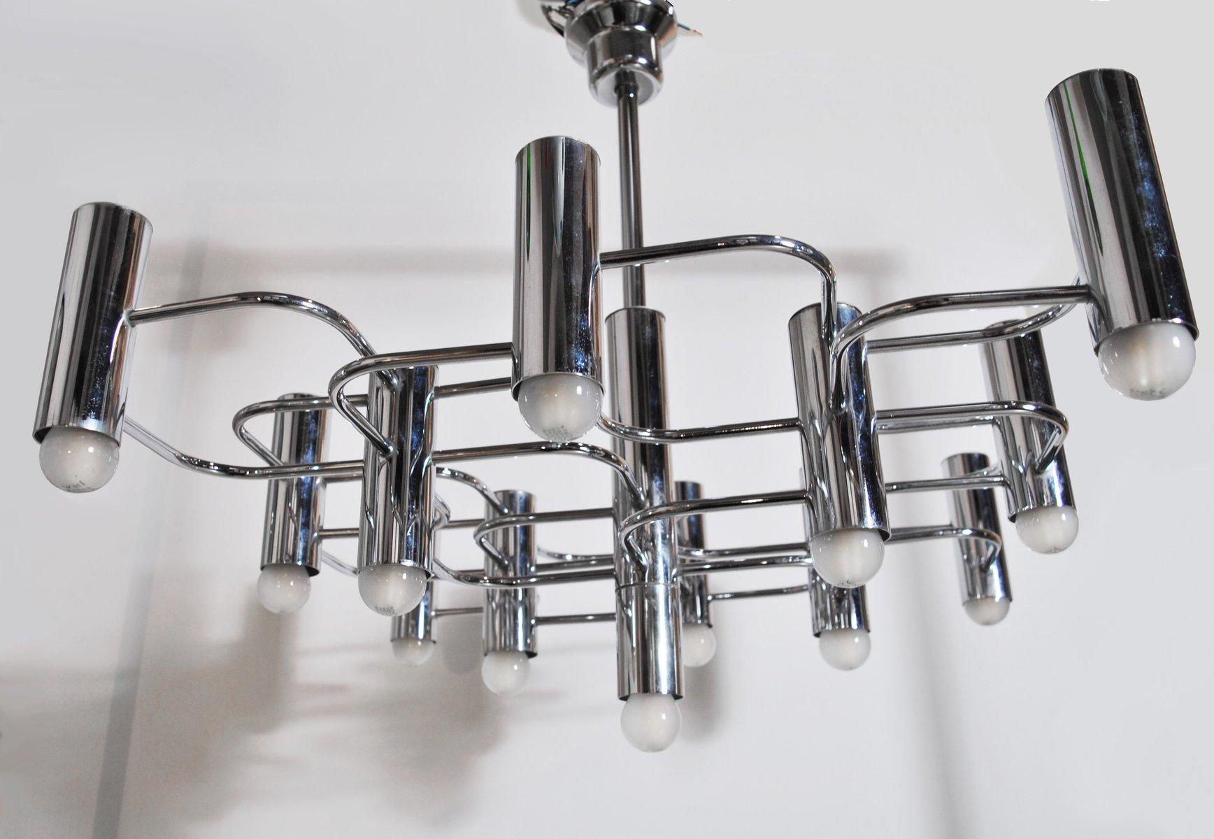 Kronleuchter aus Stahl mit 9 Leuchten von Gaetano Sciolari für Boulang...