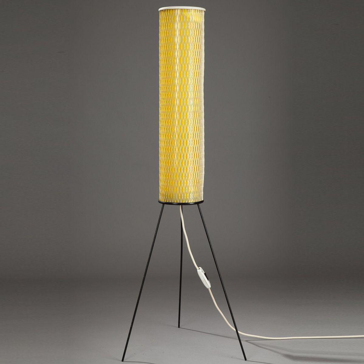 Gelbe Stehlampe aus Plastik, 1950er