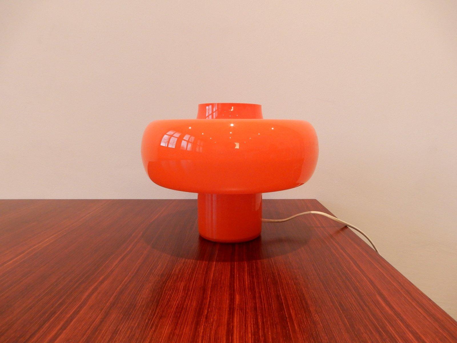 Orangefarbene Vintage Tischlampe aus Glas, 1960er