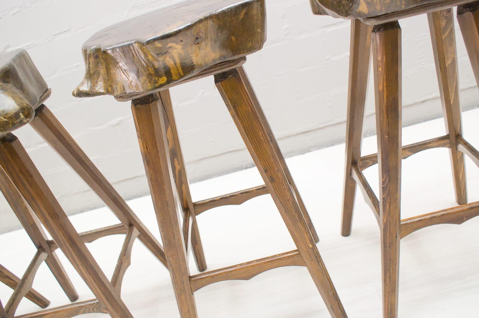 franz sische mid century barhocker aus holz 1960er 6er set bei pamono kaufen. Black Bedroom Furniture Sets. Home Design Ideas