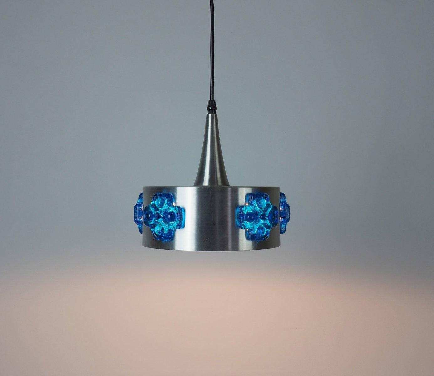 Vintage Hängelampe aus gebürstetem Aluminium & blauem Kristallglas, 19...