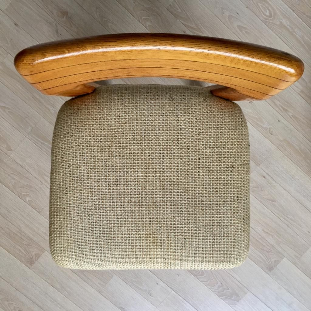 Gestreifte Deutsche Mid-Century Stühle Aus Eiche Von Lübke