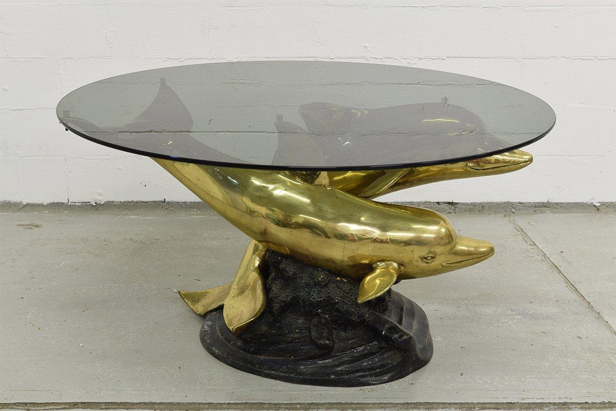 Italienischer Couchtisch aus Messing & Bronze mit Fuß in Delfin-Optik,...