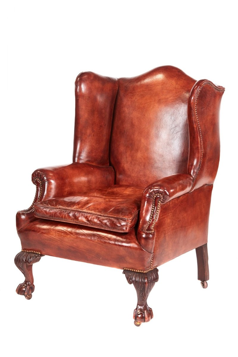 Fabulous Antique Leather Wing Back Library Chair Short Links Chair Design For Home Short Linksinfo
