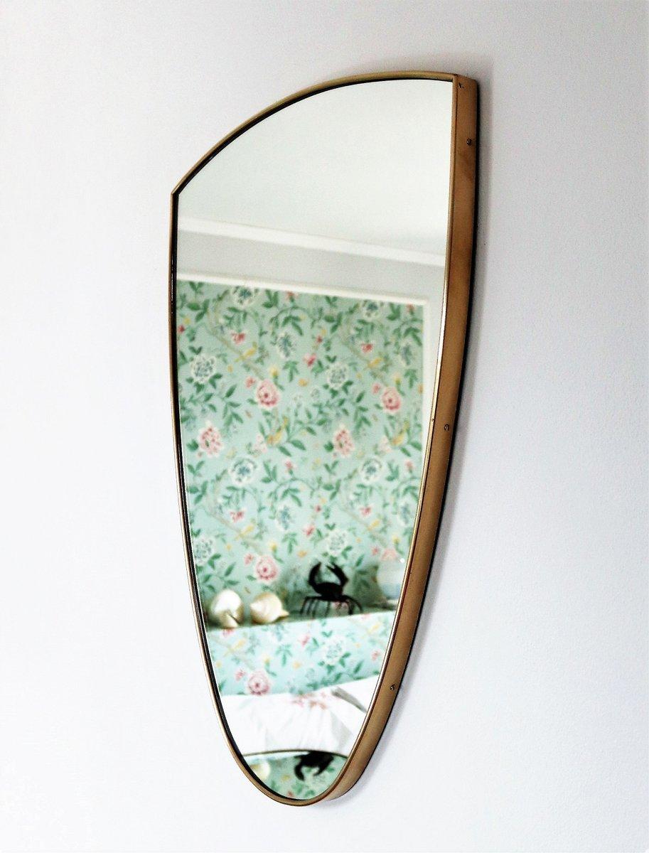 italienischer wandspiegel mit rahmen aus messing 1950er. Black Bedroom Furniture Sets. Home Design Ideas