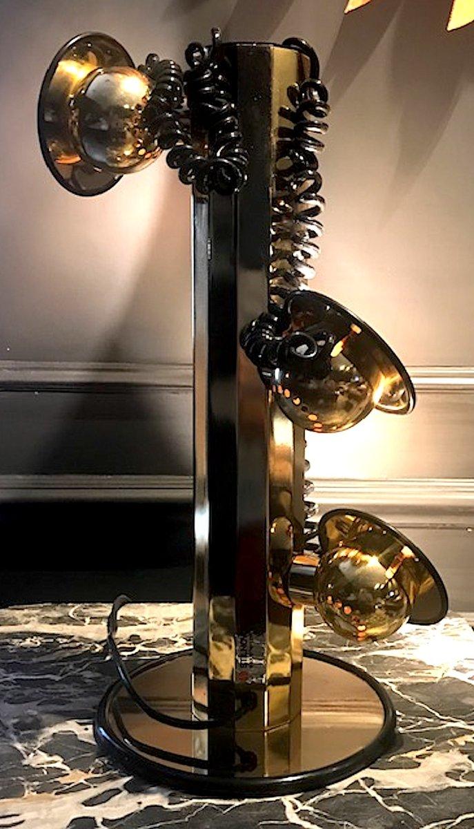Goldene Tischlampe mit 3 Leuchten von Stilnovo, 1980er