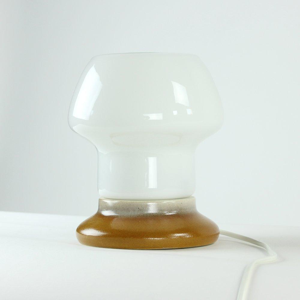 Vintage Tischlampe aus Porzellan & weißem Opalglass von Kamenicky Seno...