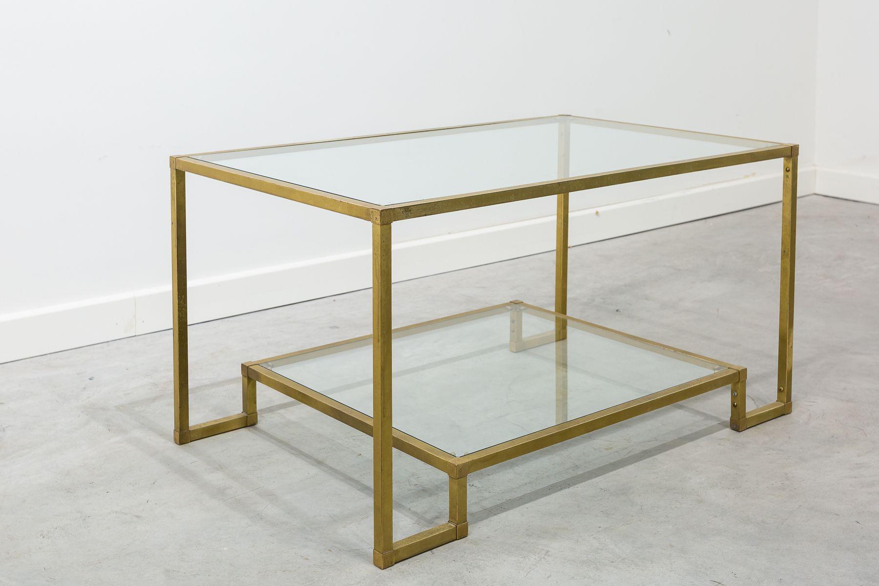 table rectangulaire en laiton en verre espagne 1970s en vente sur pamono. Black Bedroom Furniture Sets. Home Design Ideas