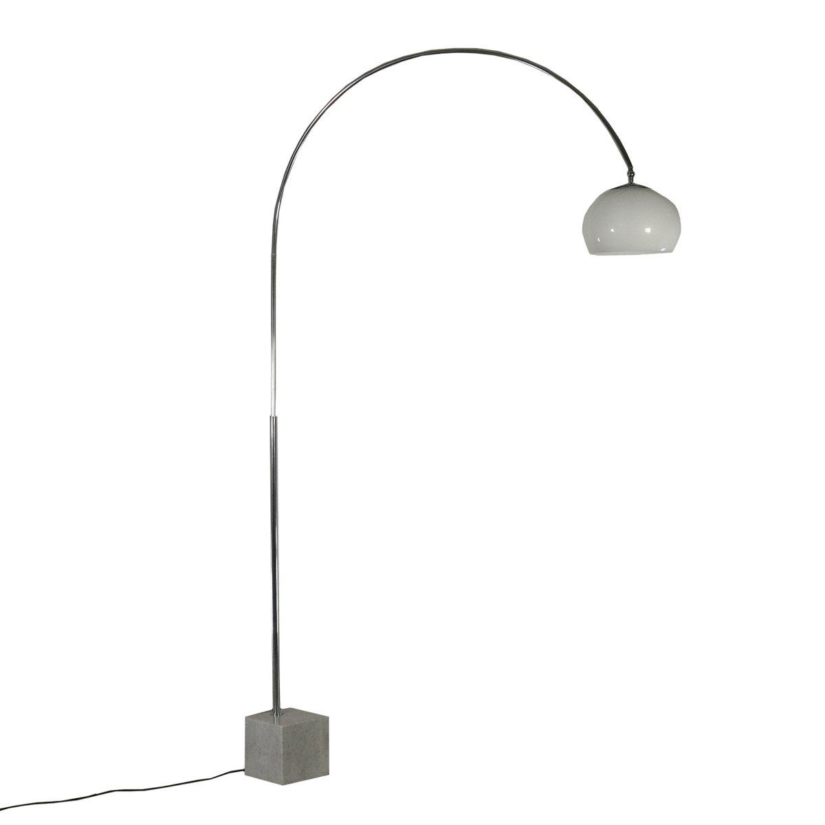 Italienische Vintage Stehlampe aus Marmor & verchromtem Metall