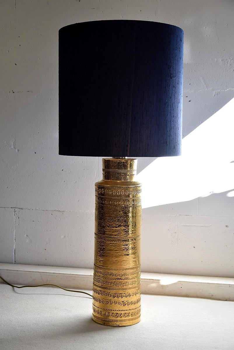 Mid-Century Tischlampe mit Säule aus goldener Keramik von Aldo Londi f...
