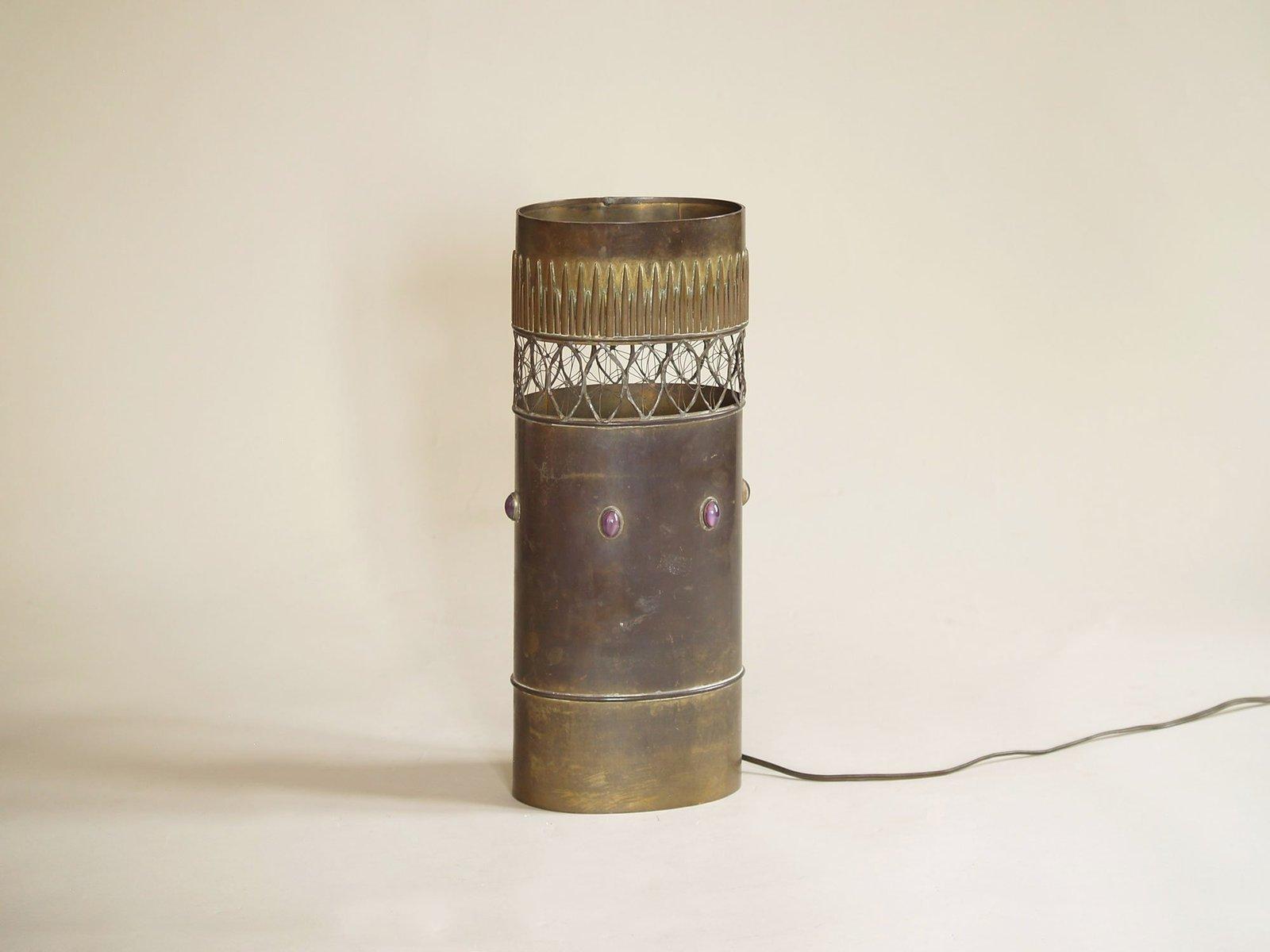Brutalistische französische Tischlampe aus Messing von Jacque d´Aubres...