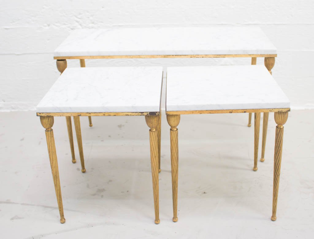 Vintage Italian Gilt Nesting Tables With Marble Tops For