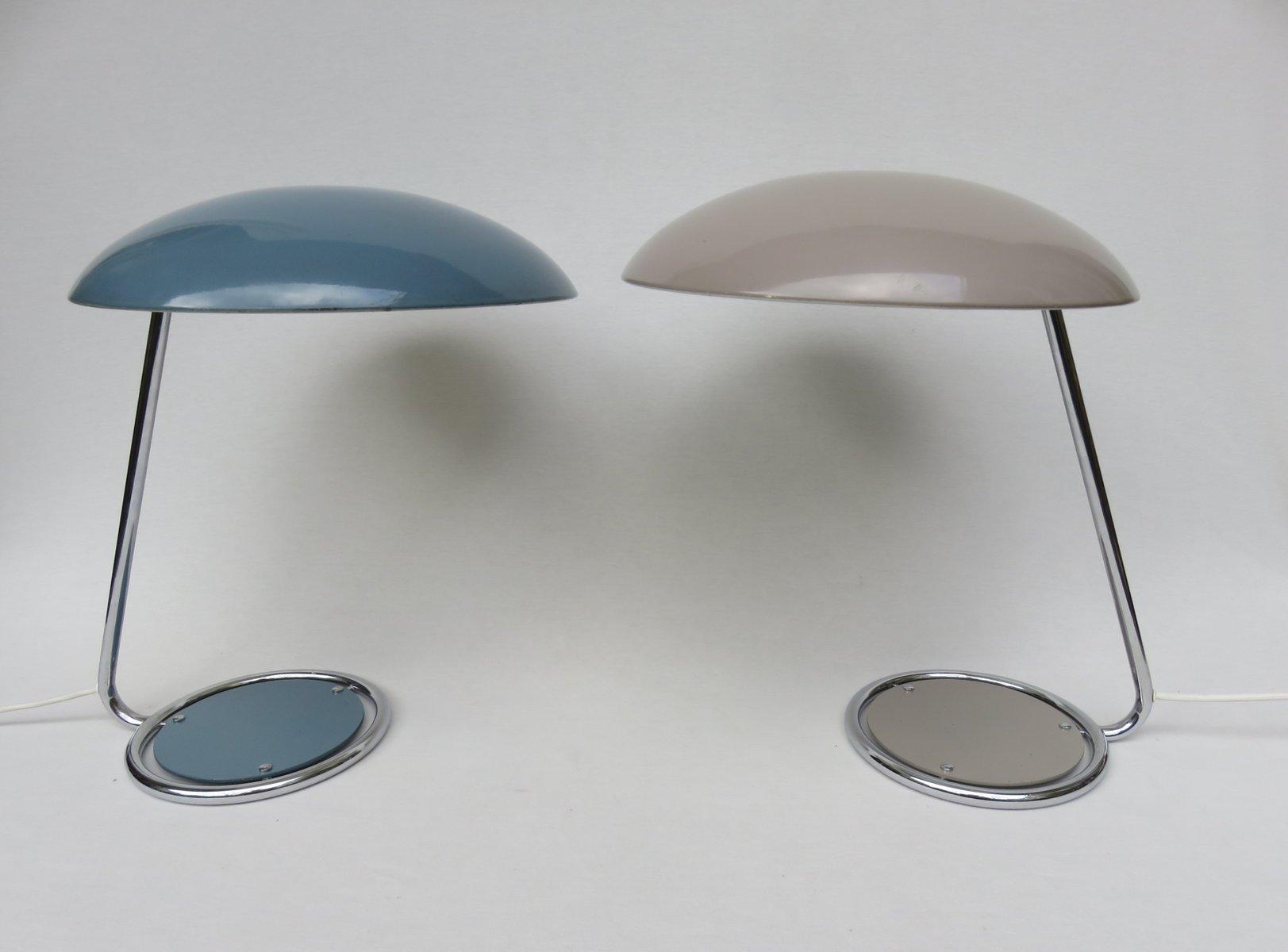 Altrosafarbene & blaue Tischlampen von Kaiser Leuchten, 1960er, 2er Se...