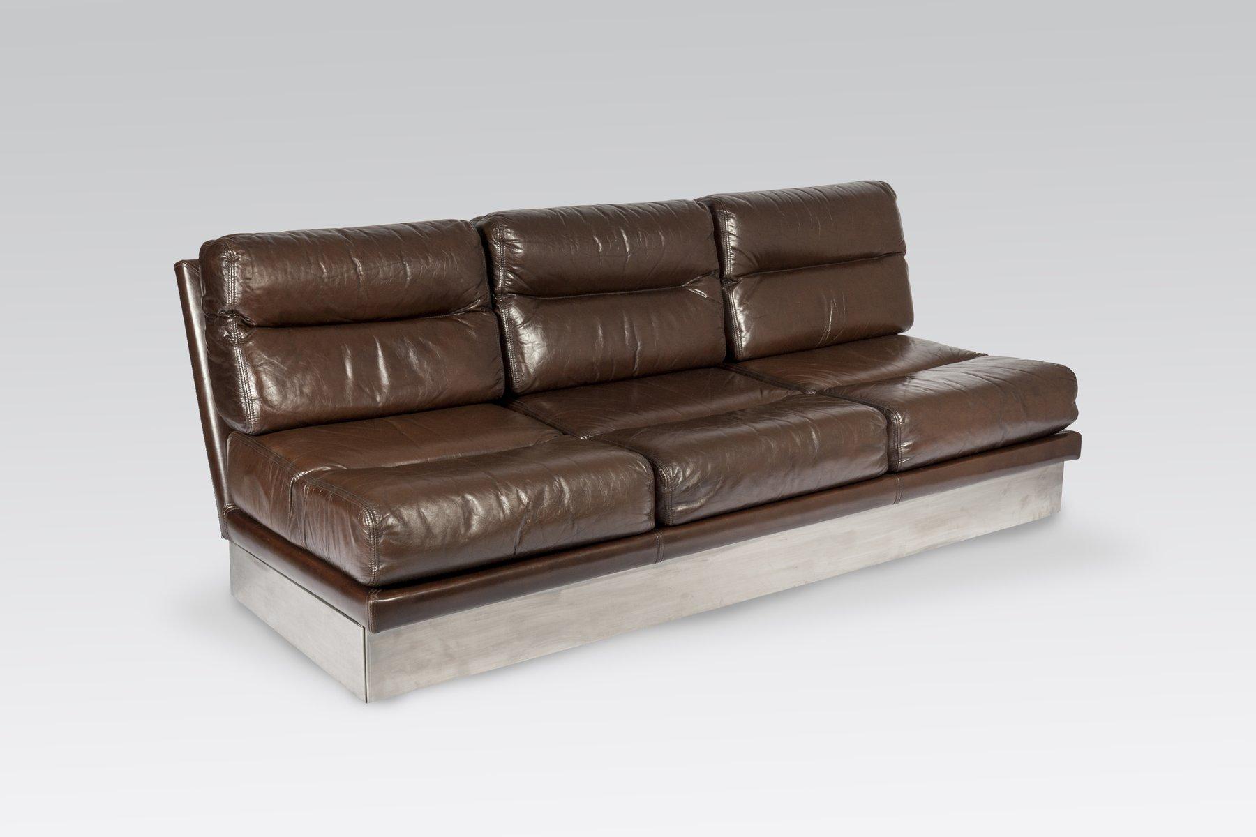 Sofa aus leder und edelstahl von jacques charpentier für roche