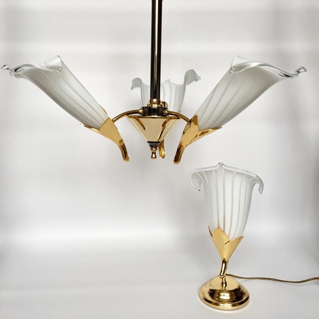 Italienischer Vintage Kronleuchter & Tischlampe aus Muranoglas von Fra...