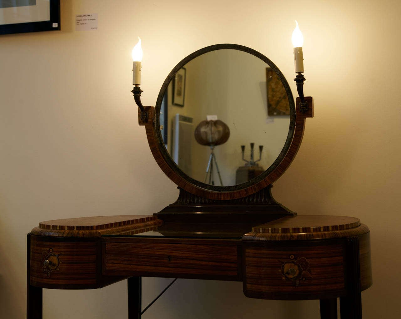 Vintage Art Deco Dressing Table With Stool By Maison Krieger 1920s