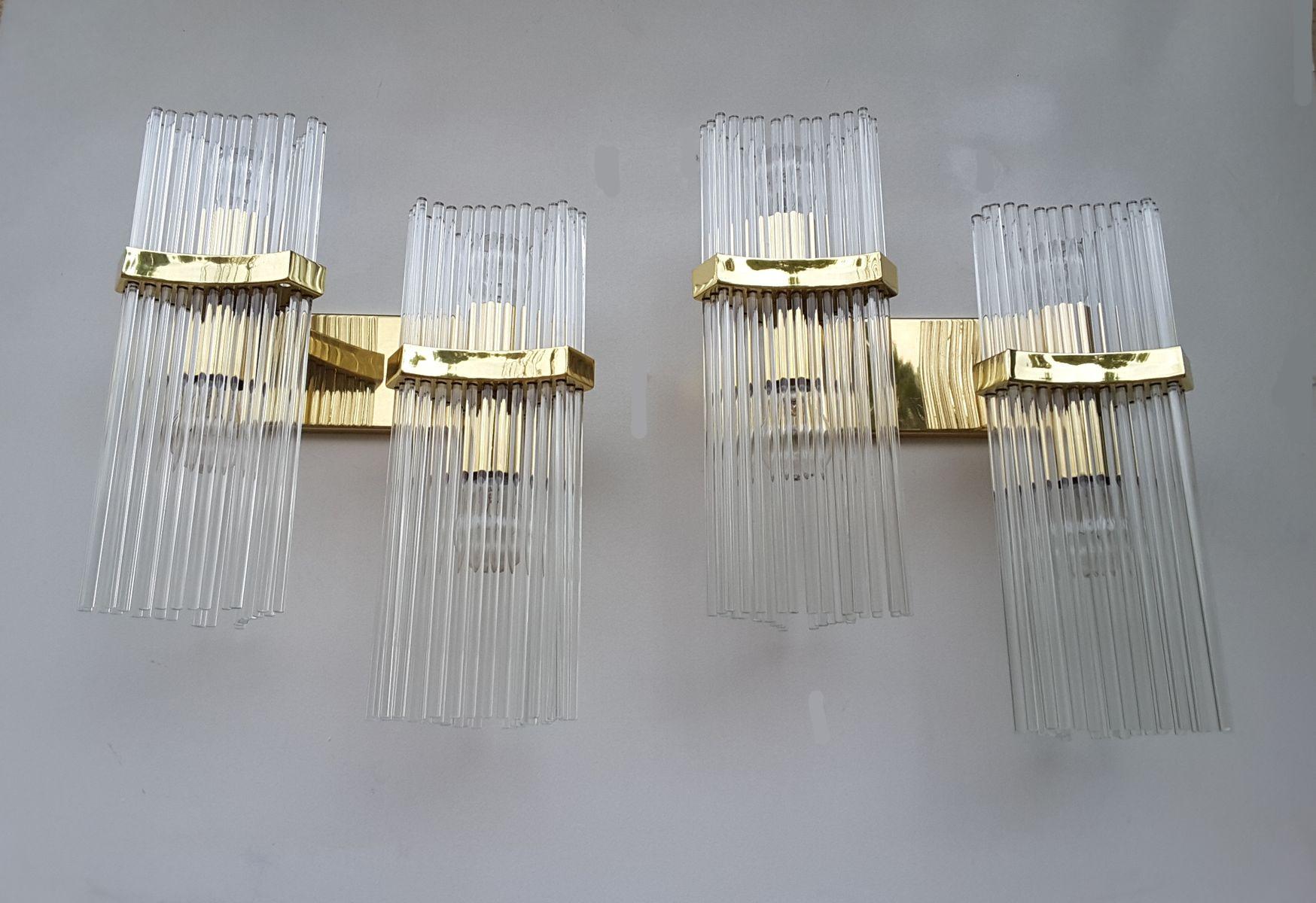Wandleuchten aus Muranoglas von Gaetano Sciolari, 2er Set