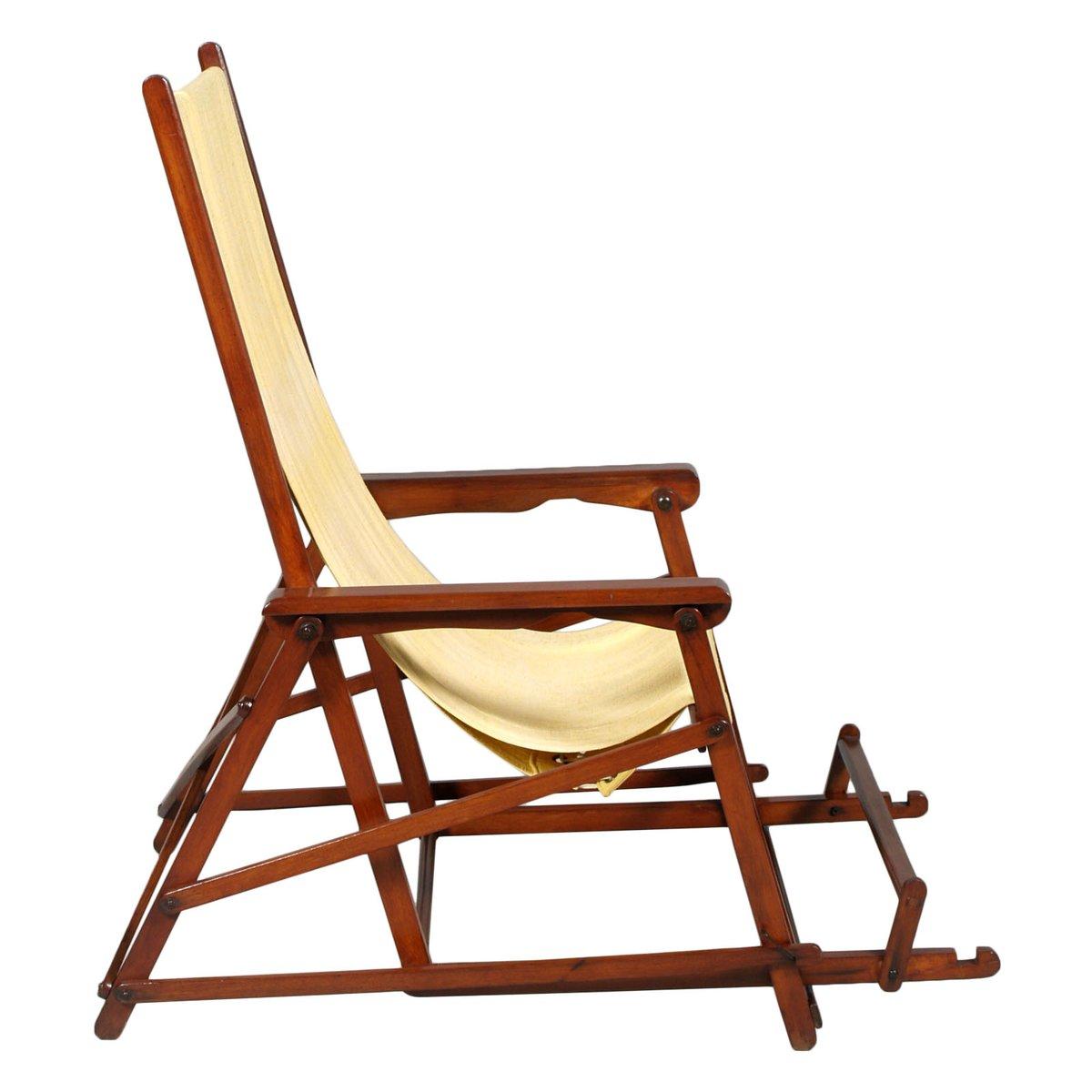 chaise longue pliante mid century en toile de clairitex france en vente sur pamono. Black Bedroom Furniture Sets. Home Design Ideas
