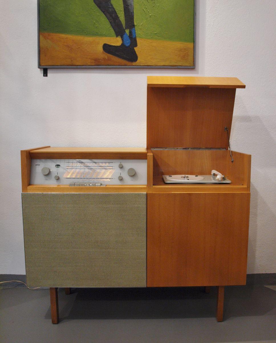 Musikschrank ou meuble radio hm1 avec tourne disque de - Meuble pour tourne disque ...