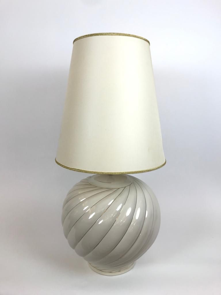 Vintage Cream Ceramic Table Lamps By Tommaso Barbi 1970s For Sale