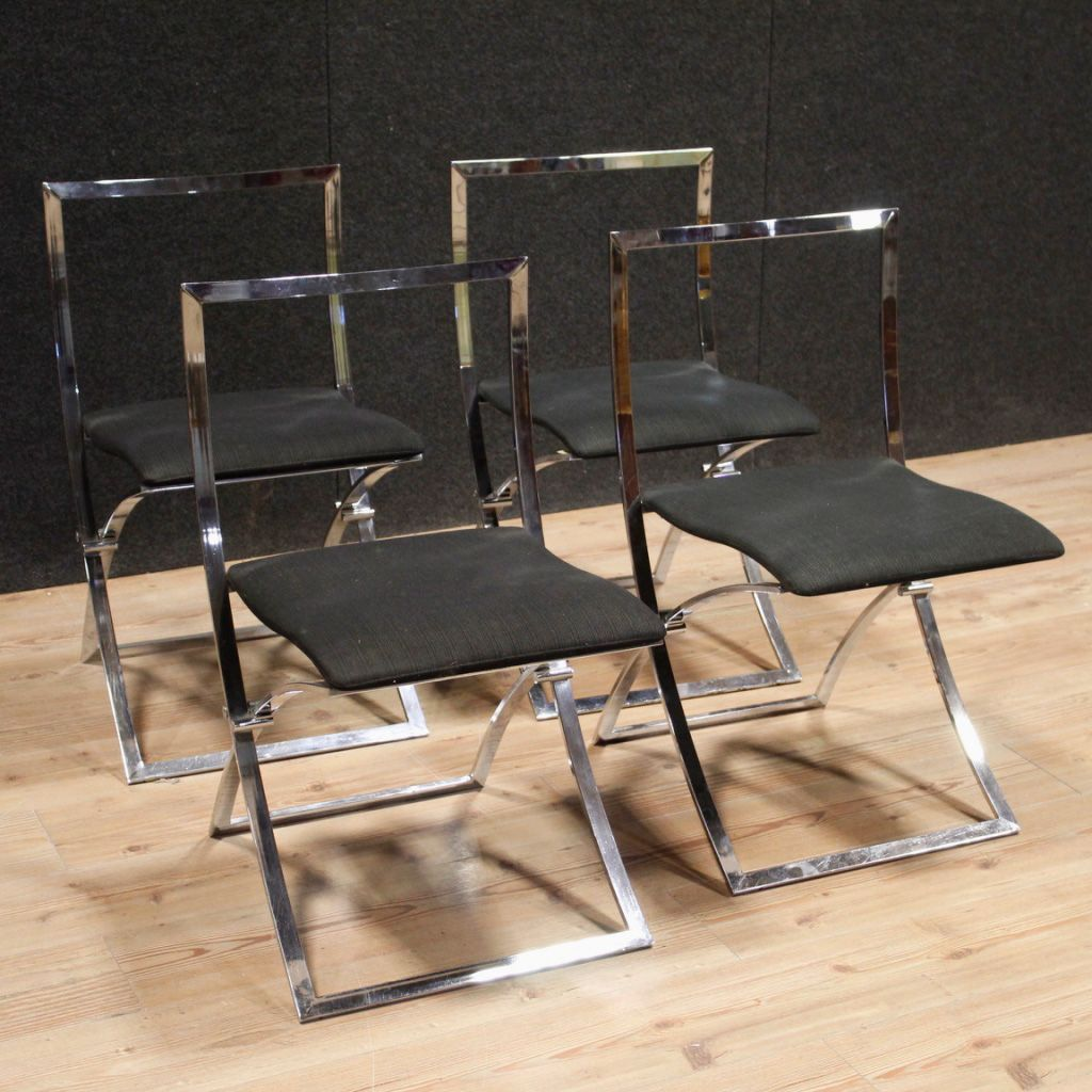 vintage st hle mit gestell aus verchromtem metall stoffbezug 1980er 4er set bei pamono kaufen. Black Bedroom Furniture Sets. Home Design Ideas