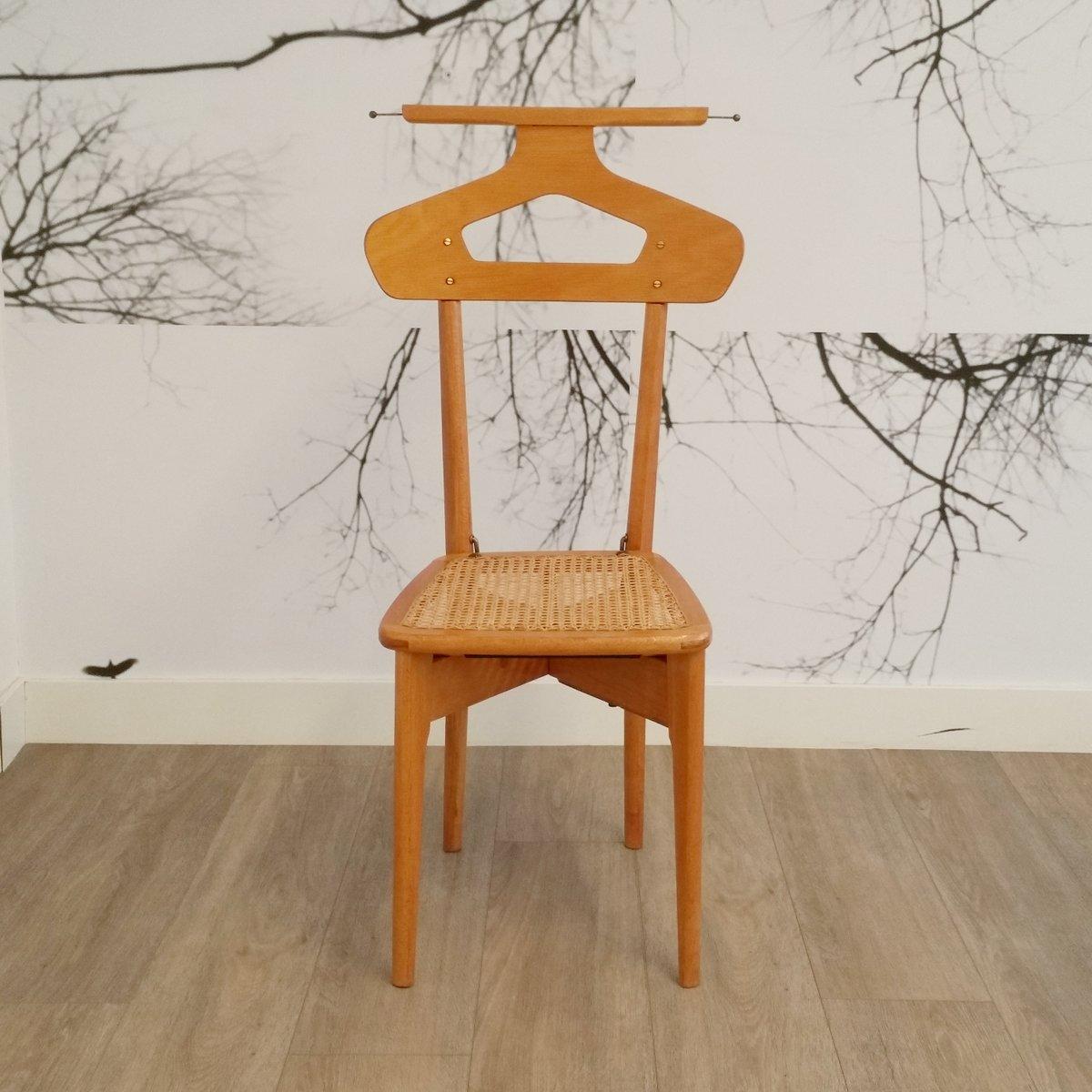 vintage stummer diener stuhl aus holz rattan von ico. Black Bedroom Furniture Sets. Home Design Ideas