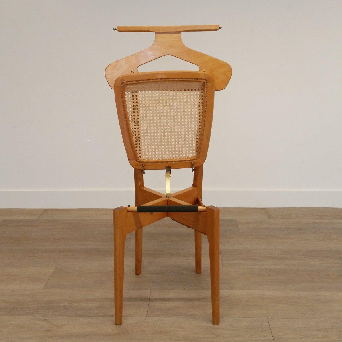 Vintage Stummer Diener Stuhl aus Holz & Rattan von Ico