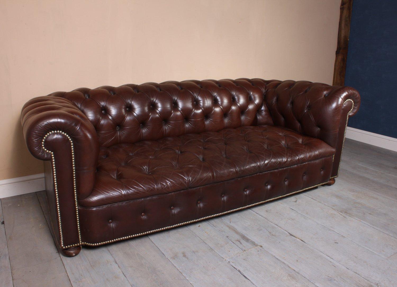 canap chesterfield vintage en cuir 1960s en vente sur pamono. Black Bedroom Furniture Sets. Home Design Ideas