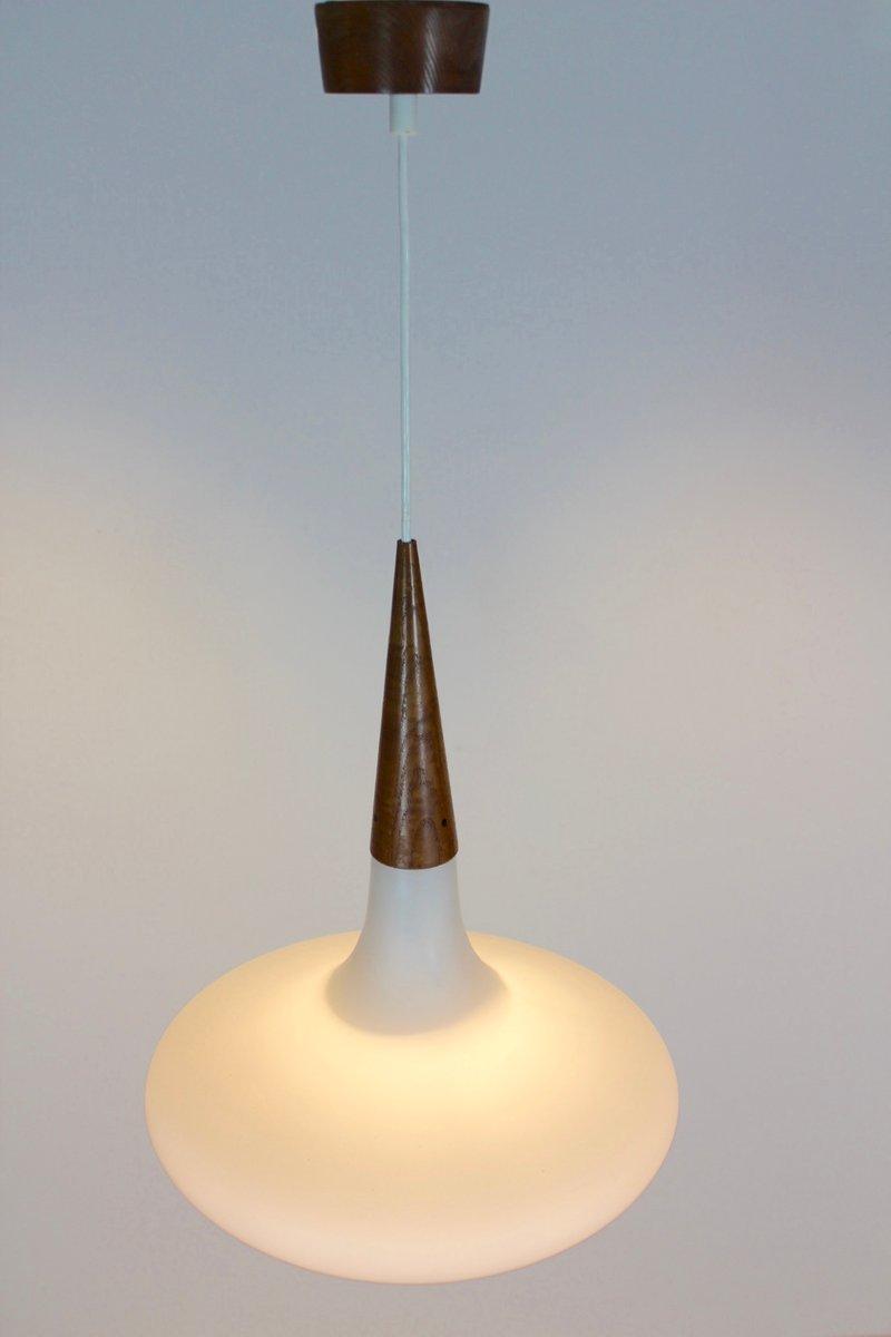 h ngelampe aus holz und opalglas von louis kalff f r philips 1950er bei pamono kaufen. Black Bedroom Furniture Sets. Home Design Ideas