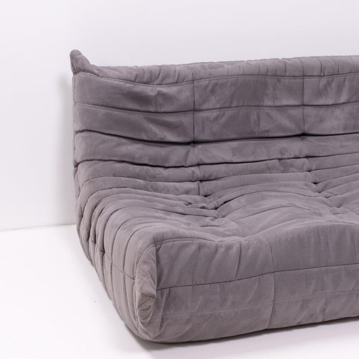 canap modulable et repose pieds gris togo par michel ducaroy pour ligne roset 1970s set de 5. Black Bedroom Furniture Sets. Home Design Ideas