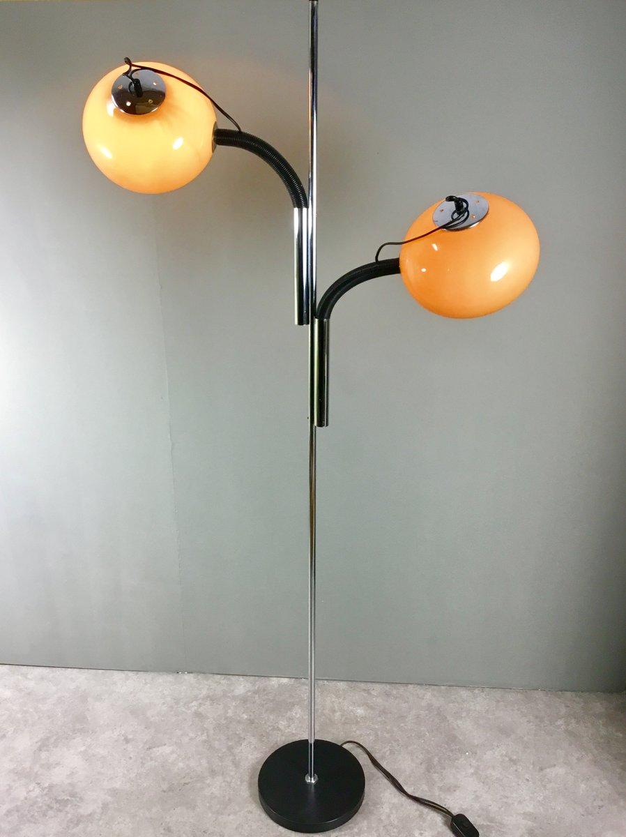 Niederländische 2-Leuchten Stehlampe aus verchromtem Stahl & Acrylglas...