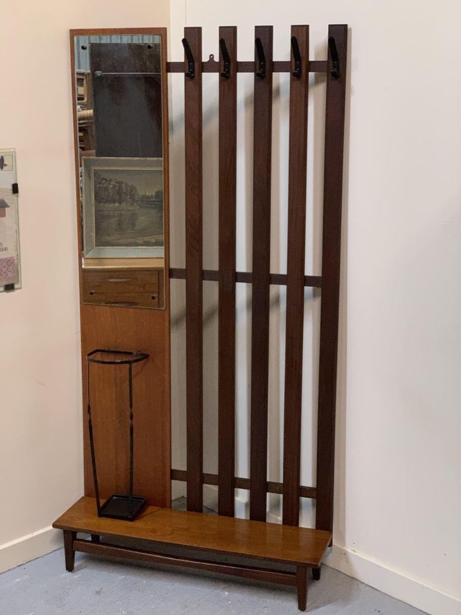Mid century teak entryway stand
