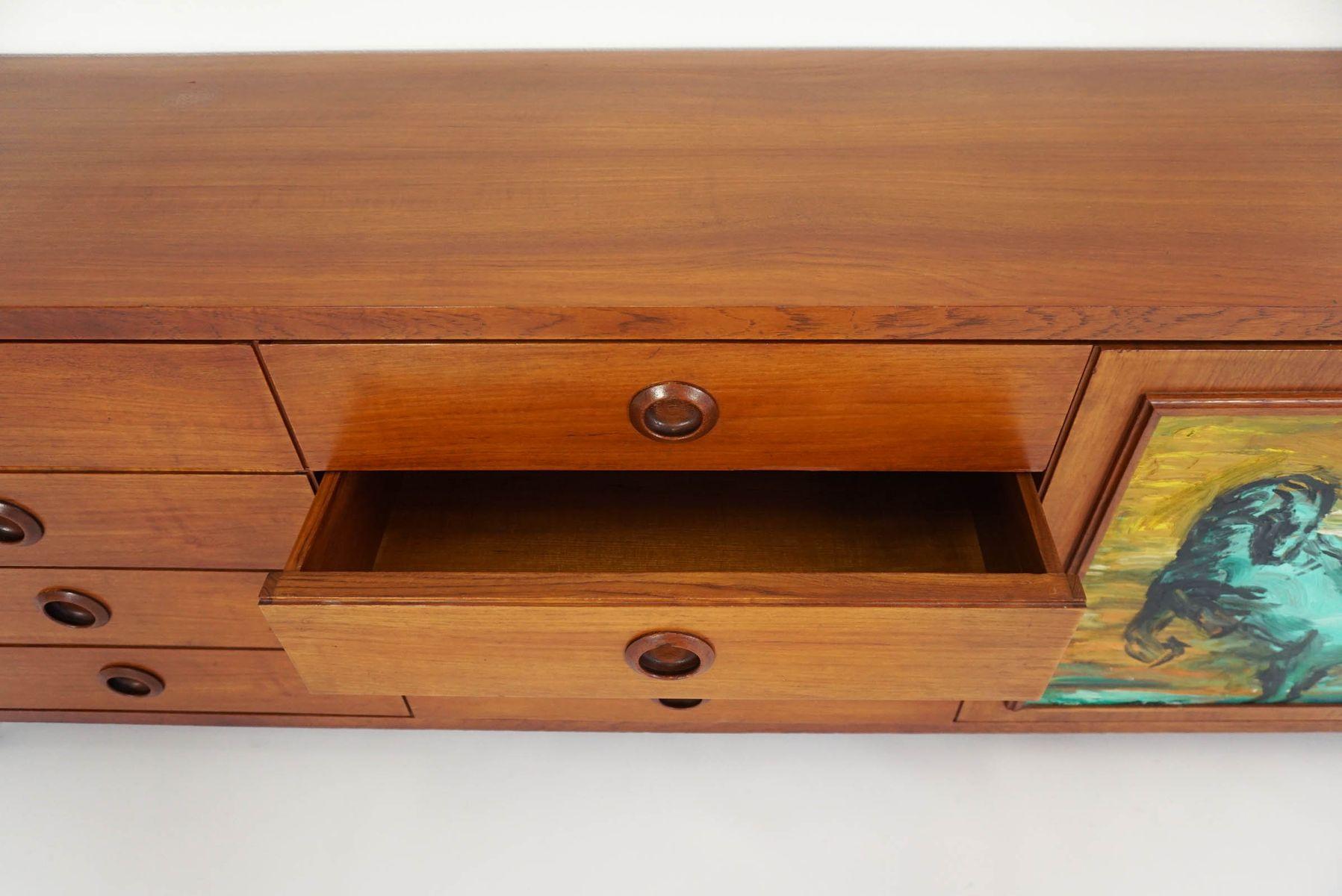 italienisches vintage sideboard mit 8 schubladen bei. Black Bedroom Furniture Sets. Home Design Ideas
