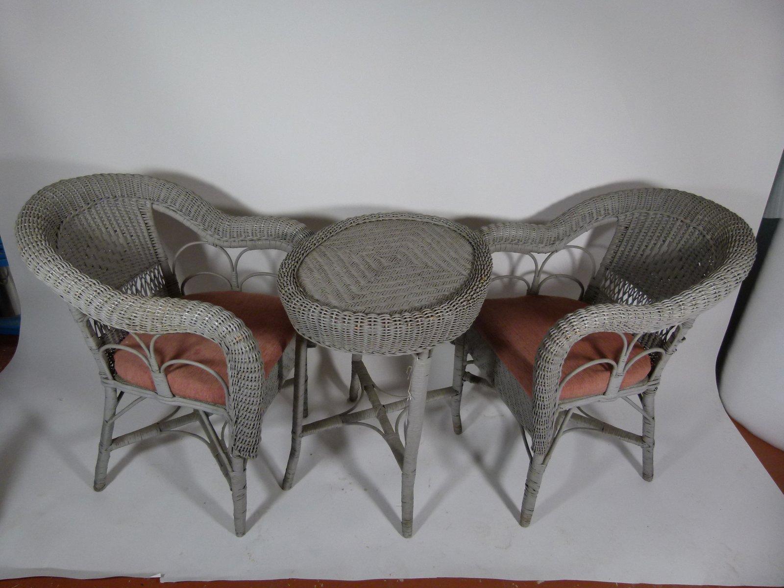 vintage gartentisch und st hle aus korbgeflecht 1980er lukait. Black Bedroom Furniture Sets. Home Design Ideas