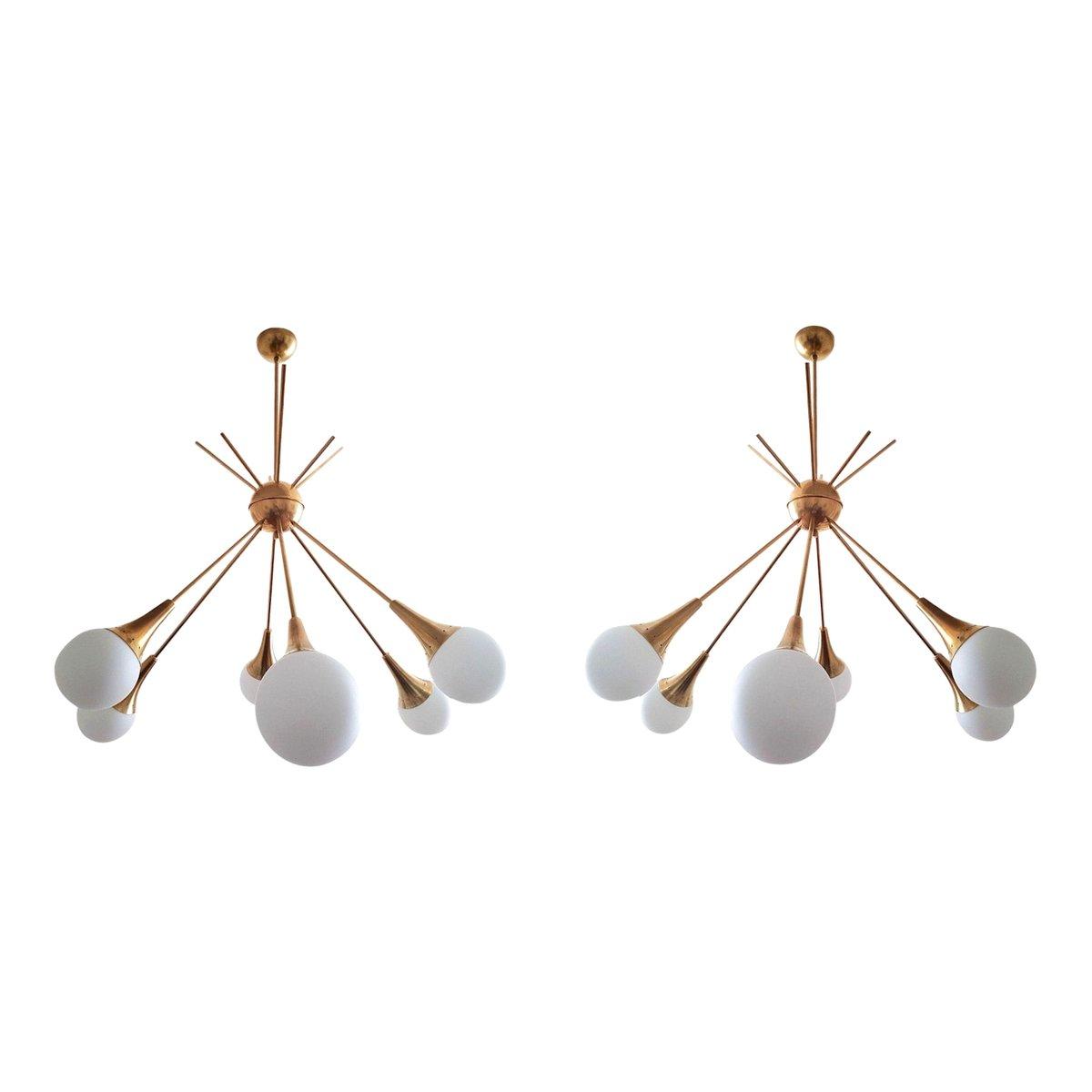 Moderne Mid-Century Sputnik Kronleuchter aus Messing & Glas von Stilno...