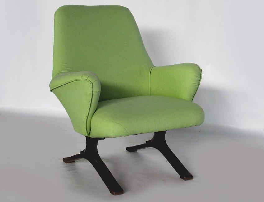 Grüner italienischer Mid-Century Sessel von Tecno