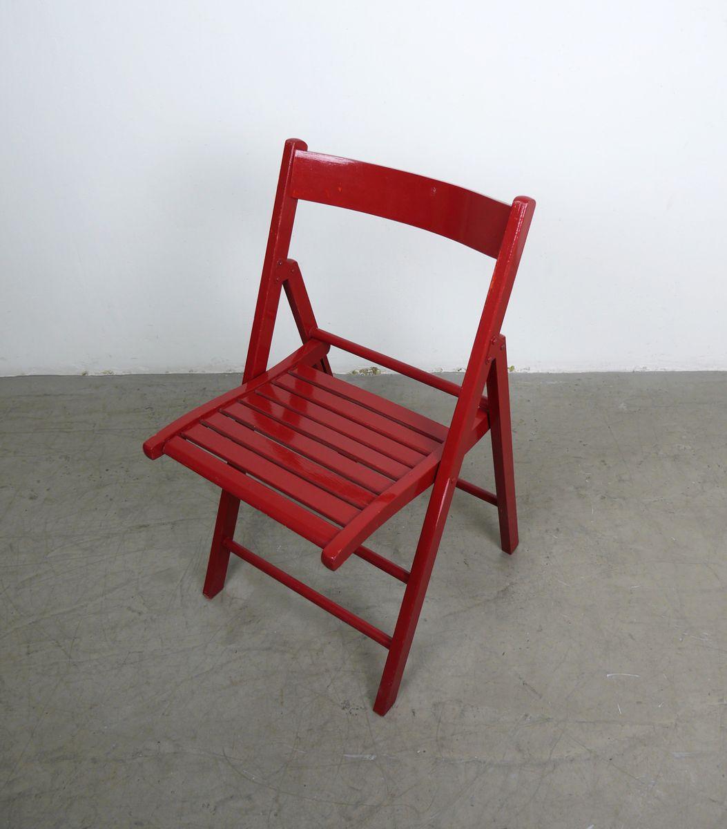 chaise pliante vintage rouge en bois en vente sur pamono. Black Bedroom Furniture Sets. Home Design Ideas