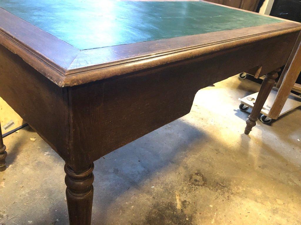 Bureau vintage en bois et cuir france en vente sur pamono