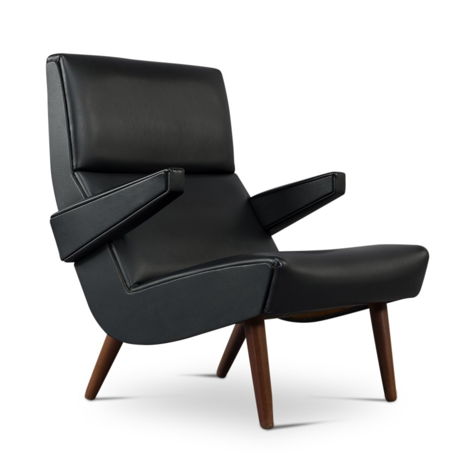 Danish Mid-Century Black Leather Lounge Chair, 1970s