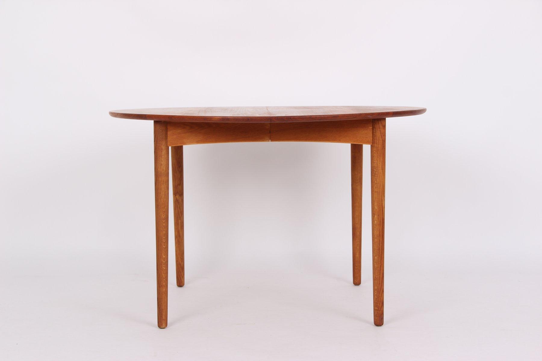 Tavolo da pranzo rotondo allungabile in teak e quercia, anni \'50 in ...