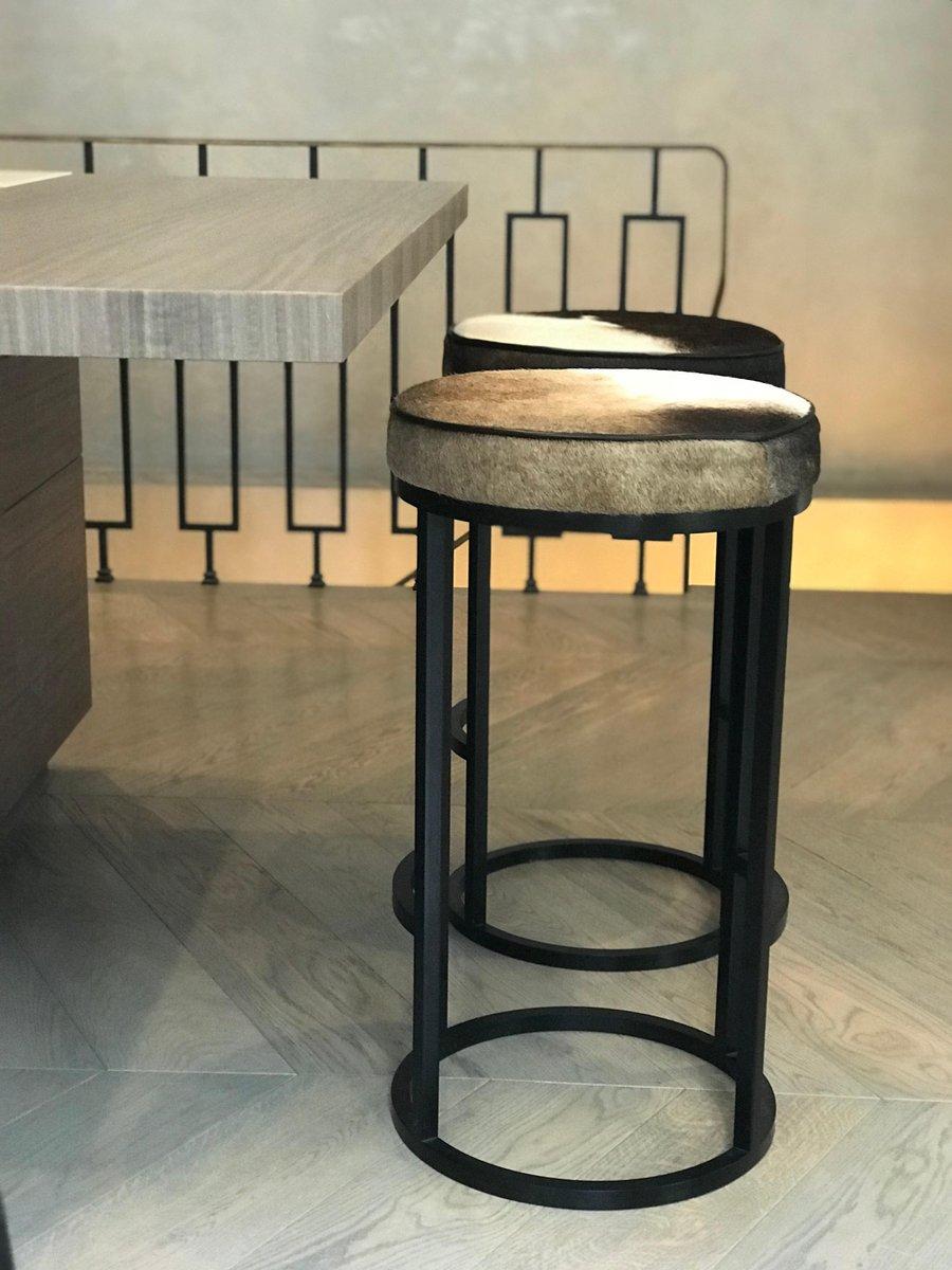 tabouret de bar diana en cuir et acier enduit par casa botelho en vente sur pamono. Black Bedroom Furniture Sets. Home Design Ideas