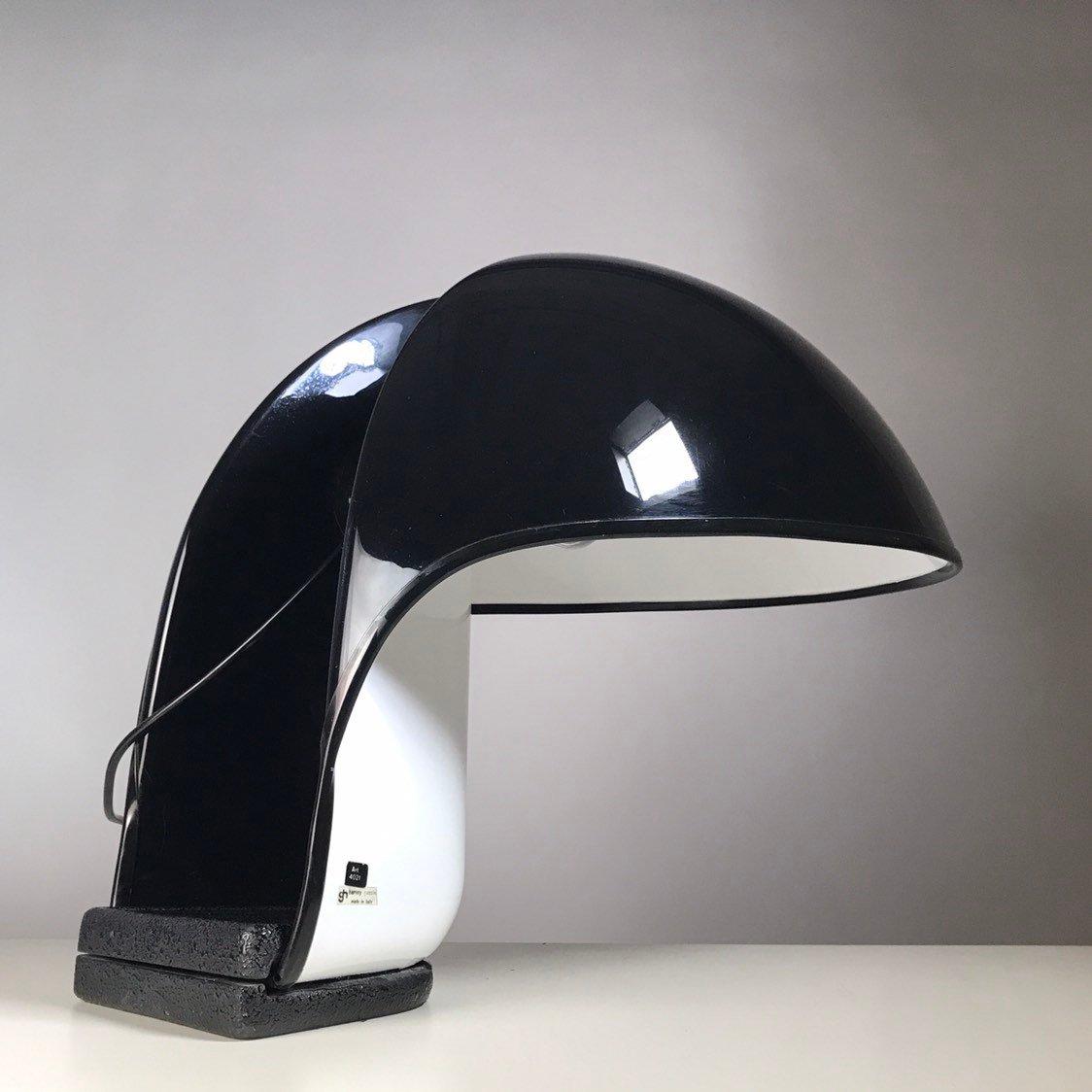 Schwarz-weiße Albanella Tischlampe von Segio Brazzoli & Ermanno Lampa ...