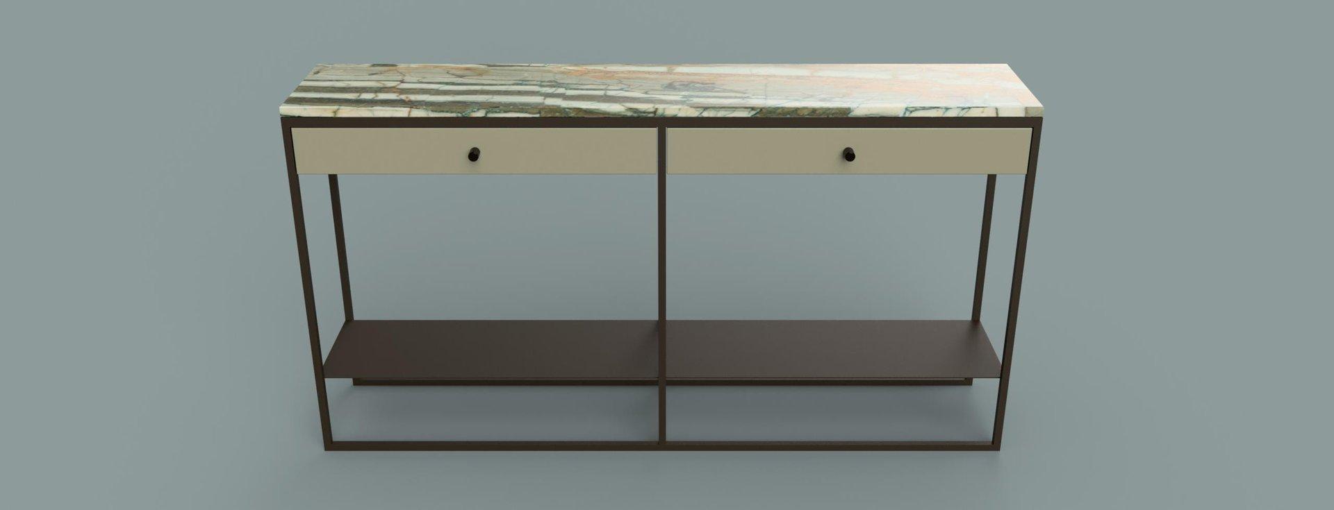 eros konsolentisch mit gestell aus pulverbeschichtetem stahl schubladen aus marmor von casa. Black Bedroom Furniture Sets. Home Design Ideas