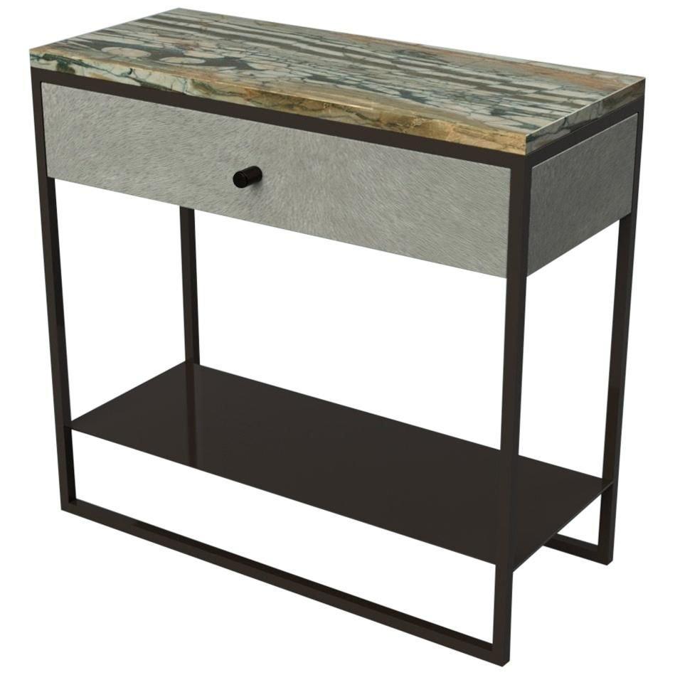 Eros Nachttisch aus Marmor, Leder & pulverbeschichtetem Stahl von Casa...