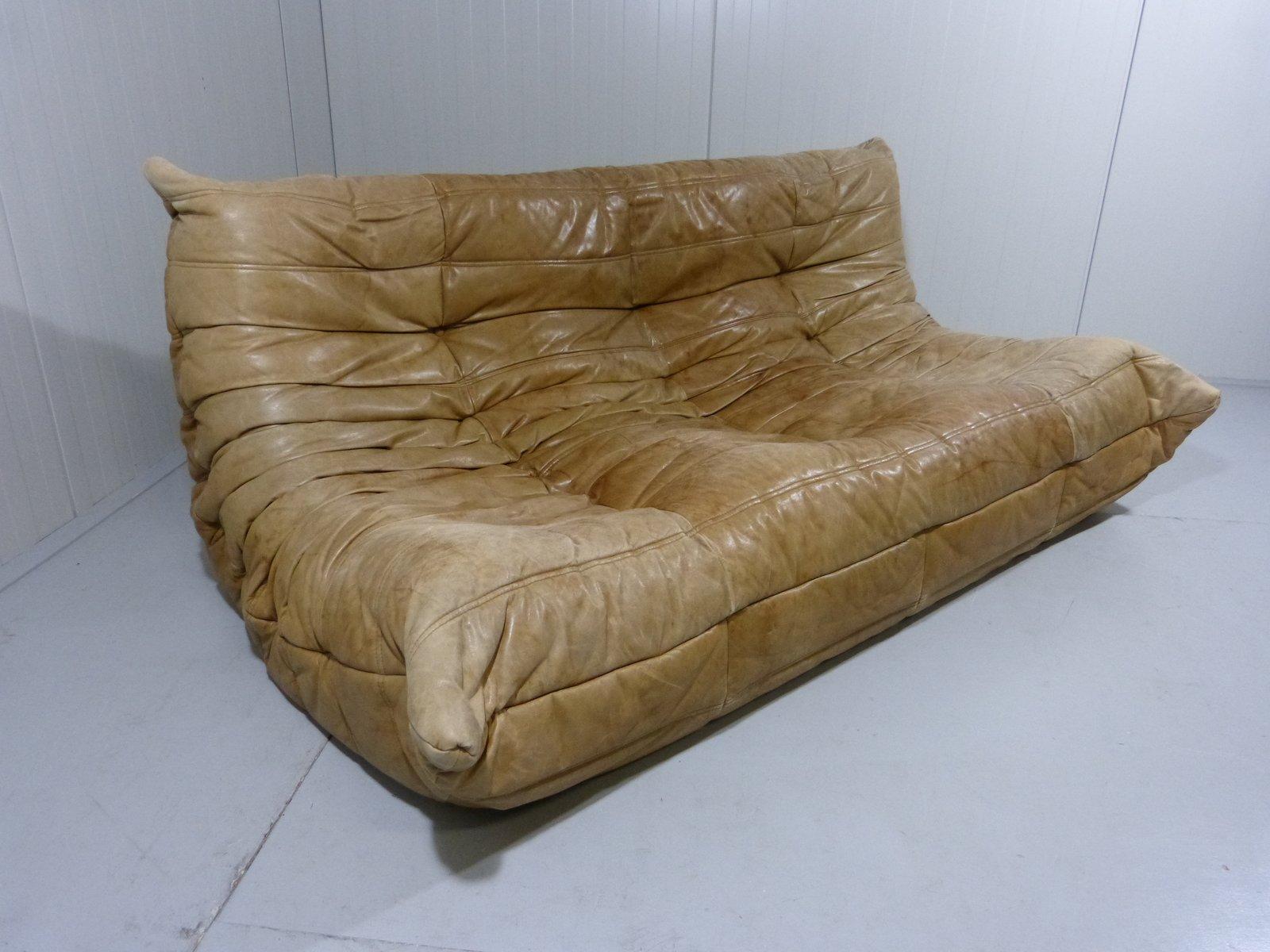 canap togo en cuir par michel ducaroy pour ligne roset 1970s en vente sur pamono. Black Bedroom Furniture Sets. Home Design Ideas