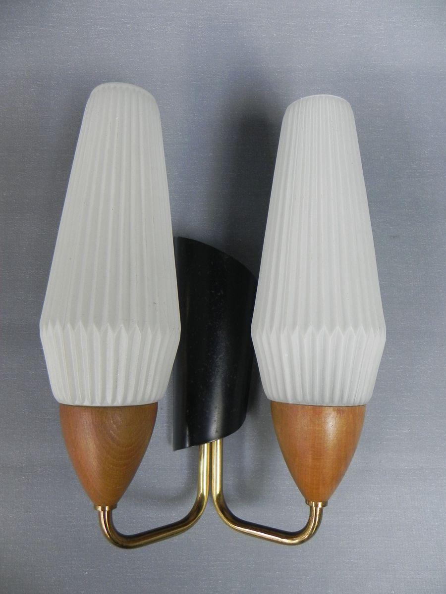 Vintage Wandlampe mit 2 Glaskappen
