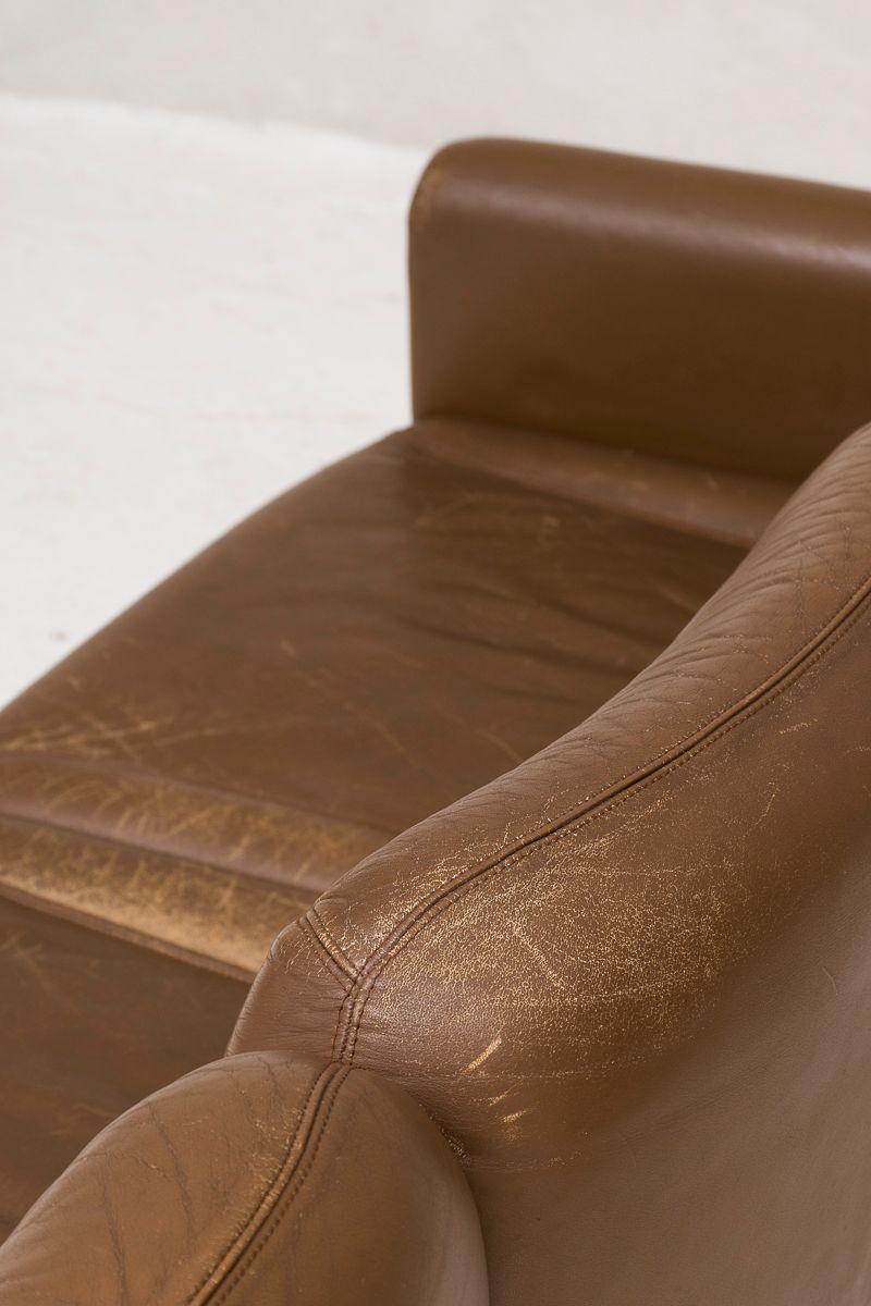 canap 6 places ou double canap 3 places en cuir marron. Black Bedroom Furniture Sets. Home Design Ideas
