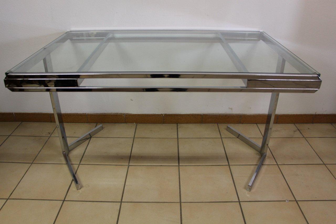 vernickelter vintage esstisch aus glas macht euren projekten beine. Black Bedroom Furniture Sets. Home Design Ideas