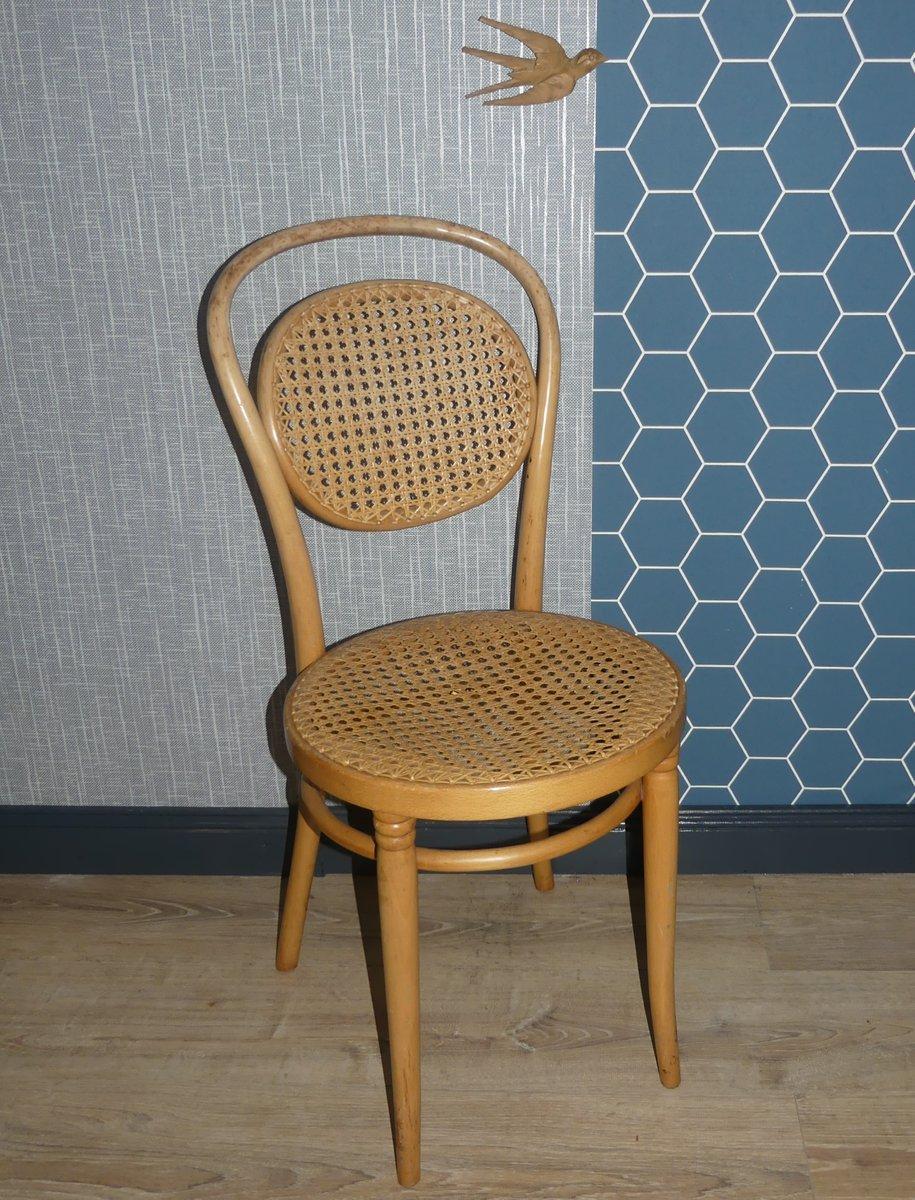 Chaises Bistrot Vintage En Osier Bois Courbe 1960s Set De 2